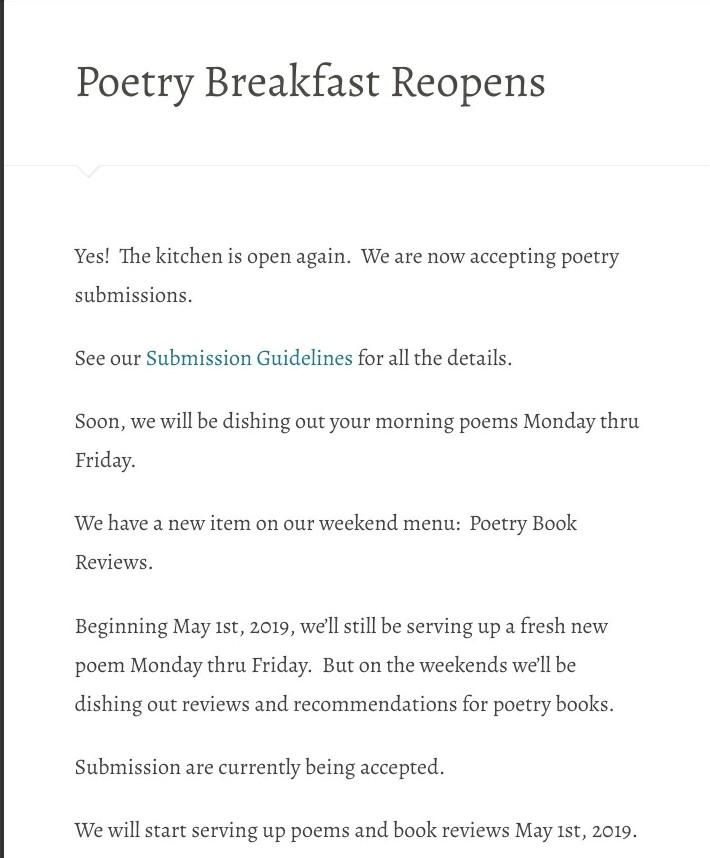 Poetry Breakfast Reopens – Poetry Breakfast